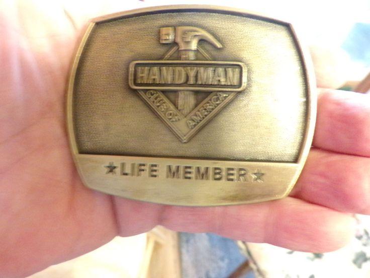 Handyman Brass Belt Buckle Hammer Club America Life Member, 1996 belt buckle, Brass belt buckle. by Morethebuckles on Etsy