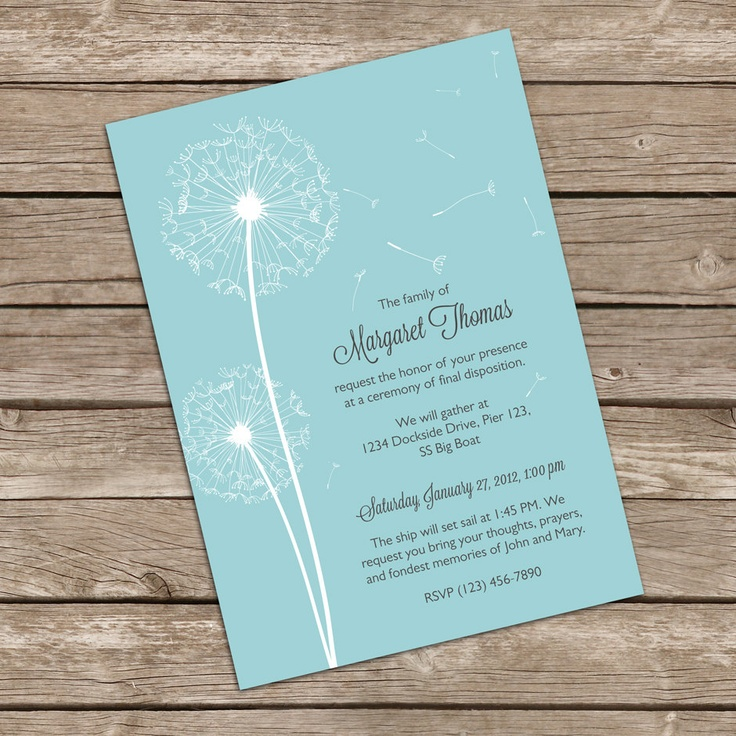 Beautiful Dandelion Mourning Cards for Memorial Funeral Announcements or Invites. $17.50, via Etsy.