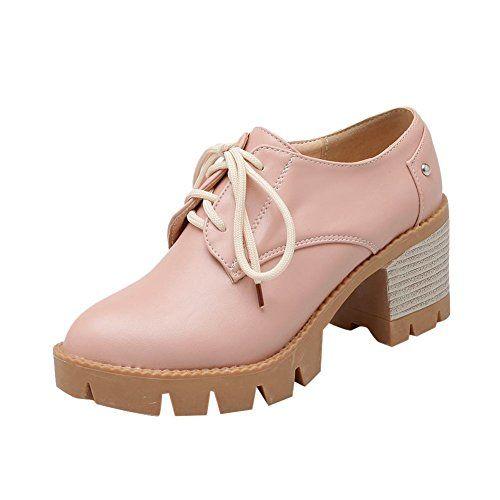 b5b82092204 Womens Fashion Lace-up Mid Chunky Heel Oxford Shoes | comfashion ...