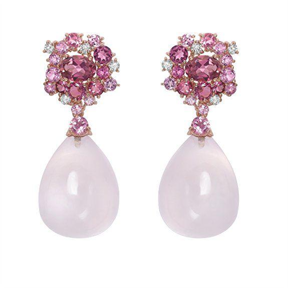 Brumani Damen-Ohrringe Roségold 18 k (750) Quarz Pink/Rosa Tropfenschliff