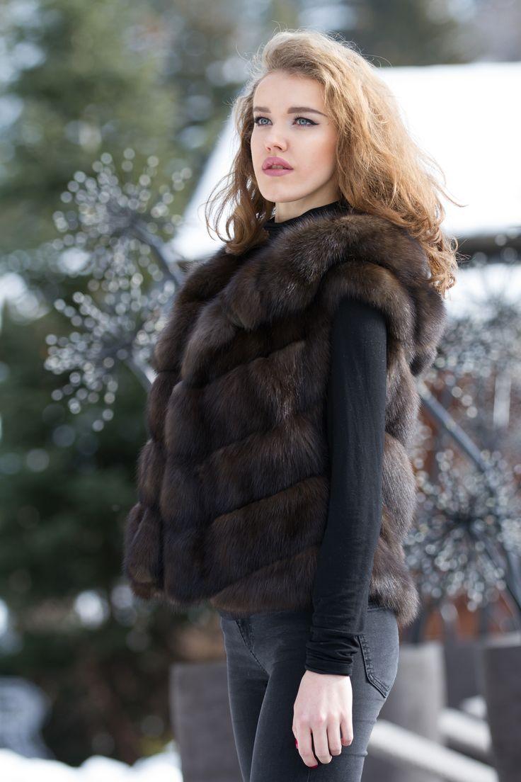 Sable fur vest with hood