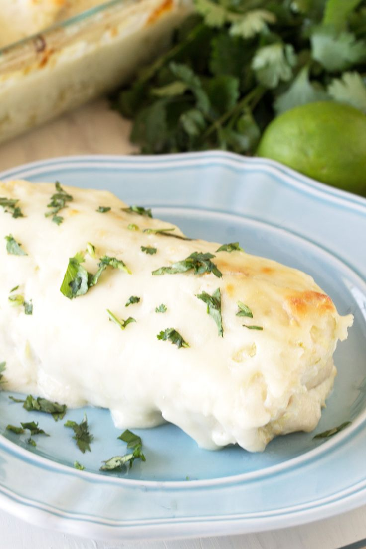 Easy Mexican Main Dishes Part - 36: Green Chile Cream Cheese Chicken Enchiladas
