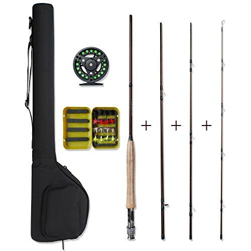 Fly Fishing Combo - Lightweight Portable Rod and Reel Kit - Graphite Pole With Carbon Fiber Blanks and Chromed Stainless Steel Snake Guides 4-Piece - With Carry Bag(5-6#)  http://fishingrodsreelsandgear.com/product/fly-fishing-combo-lightweight-portable-rod-and-reel-kit-graphite-pole-with-carbon-fiber-blanks-and-chromed-stainless-steel-snake-guides-4-piece-with-carry-bag5-6/  Fly Fishing Combo Full Kit:Include a 4-piece 8 foot Fly Fishing Rod + 1 Fishing Reel + Preinstalled L