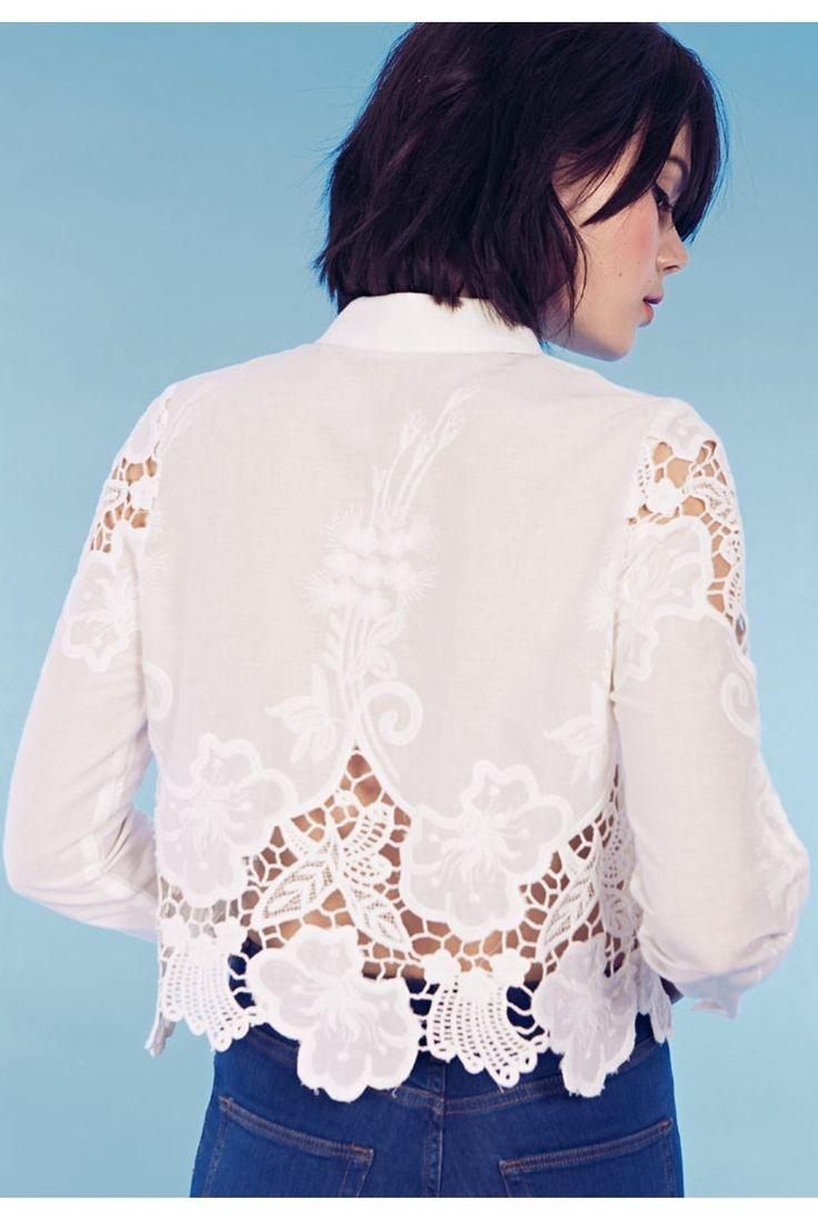 Cutwork Blouse by Dahlia London at Monroe and Me, white shirts online in Dubai, UAE