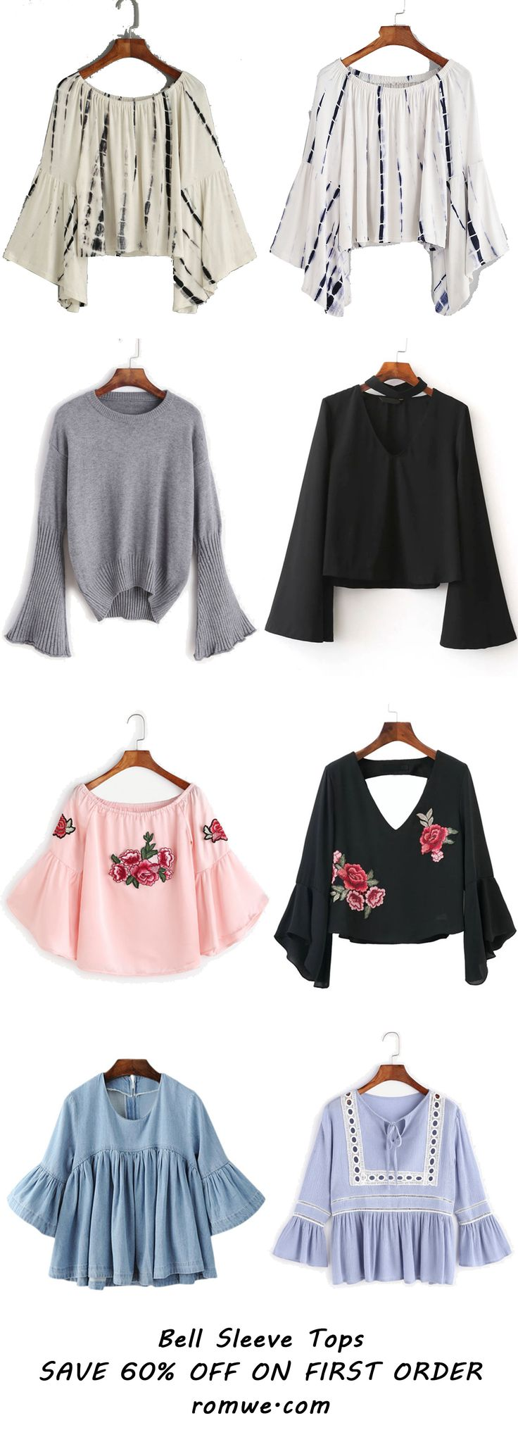 Bell Sleeve Tops Collection - romwe.com