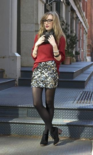 Women's Red Oversized Sweater, Silver Sequin Mini Skirt, Black Suede Ankle Boots, Charcoal Scarf