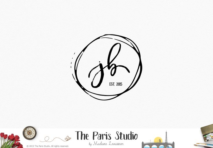 Hand Drawn Monogram Logo Design - wedding monogram logo, website logo, blog logo design