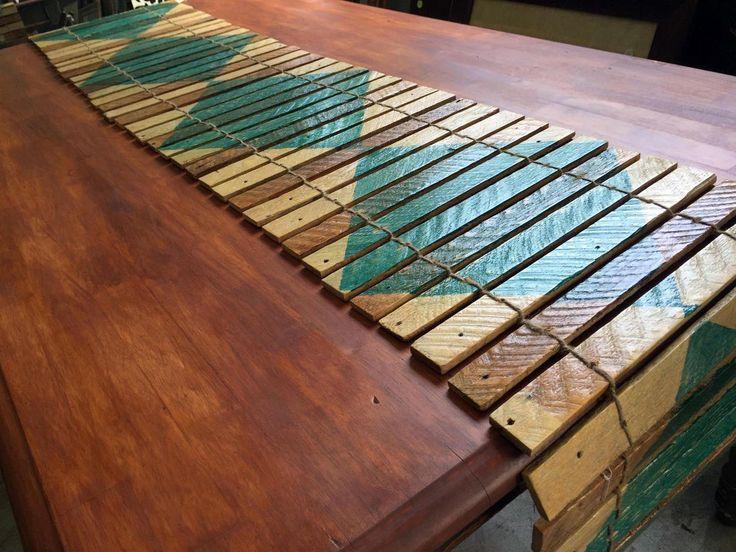 Reclaimed plaster lath table runner