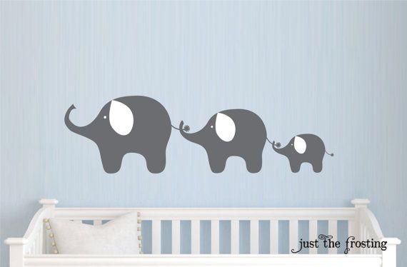 Familie Elefant Aufkleber, Kinderzimmer Elefant Wand Aufkleber, Babyjunge oder Mädchen Familie Vinyl Wall Decal