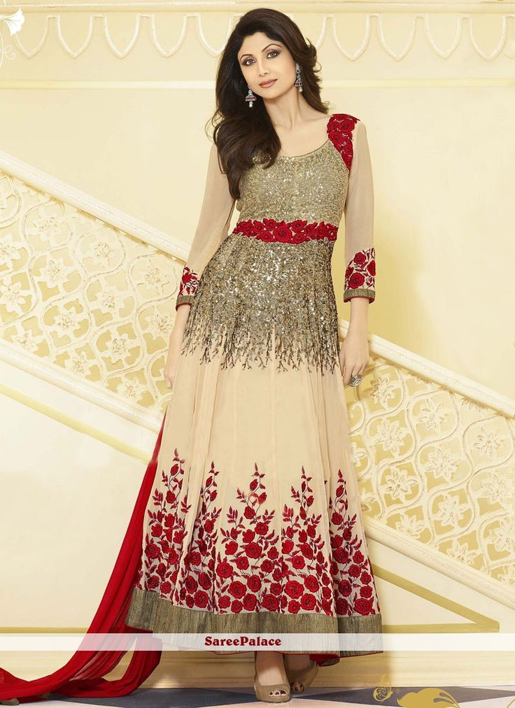 Shilpa Shetty Style Sequins Work Anarkali Suit