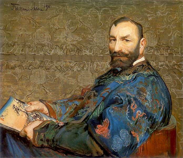 Leon Jan Wyczolkowski (1852-1936) - Portrait of Felix Jasieński in Blue Robe, 1911