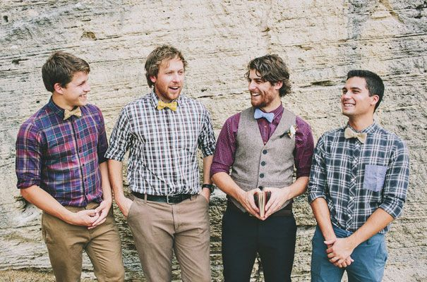 The groom and groomsmen will be going for a mismatched but cohesive look with various textures and prints - similar to these guys