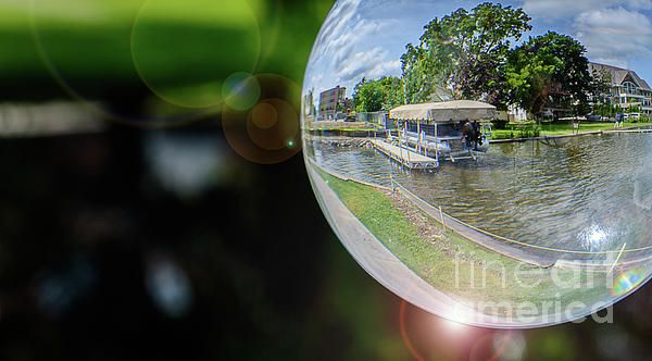 """This charming image captures the beauty of Lac La Belle Lake through a 3"""" clear crystal ball creating a beautiful scenic fish eye view. Unauthorized use and/or duplication of this material without express and written permission from this author and/or owner is strictly prohibited. Crystal Ball Photography, Oconomowoc, WI"""