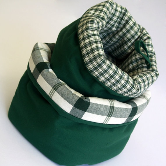 Fabric baskets with lovely lining in green
