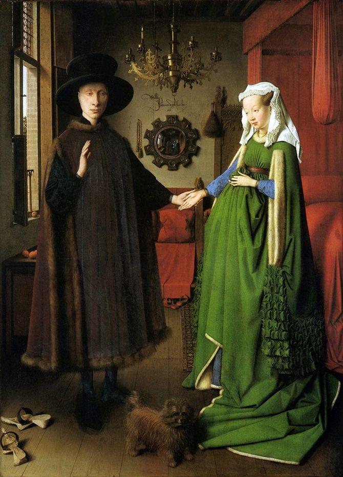 Jan Van Eyck – 1389-1441 – HOLLANDA   Sanatçının bu resmi tarihi açıdan da bir ilk olma özelliğine sahip. Bu tablo, evlenme anının resmedilmesi nedeniyle, bir nevi 'evlilik cüzdanı' niteliğinde. Eseri bu kadar önemli kılan detay ise ayna. Duvardaki ayna, müthiş bir akis tekniğiyle anı derinleştirmek için kullanılmış. Aynaya dikkatlice bakıldığında, Van Eyck'ın da resmin içinde olduğu görülür. Ressam, kendini 'an'a dâhil ederek, resim sanatına farklı bir boyut kazandırdı.