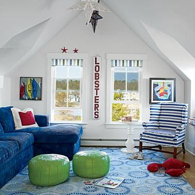 CoastalLiving.com. See More. Colorful Beach House Playroom, With A Corduroy  Sofa, Patterned Wool Area Rug, And