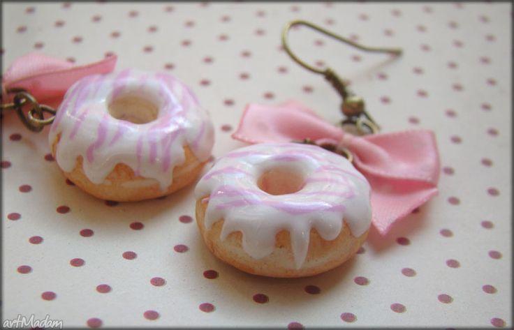 Urocze różowe donuts kolczyki slodkie blyskotki modelina fimo