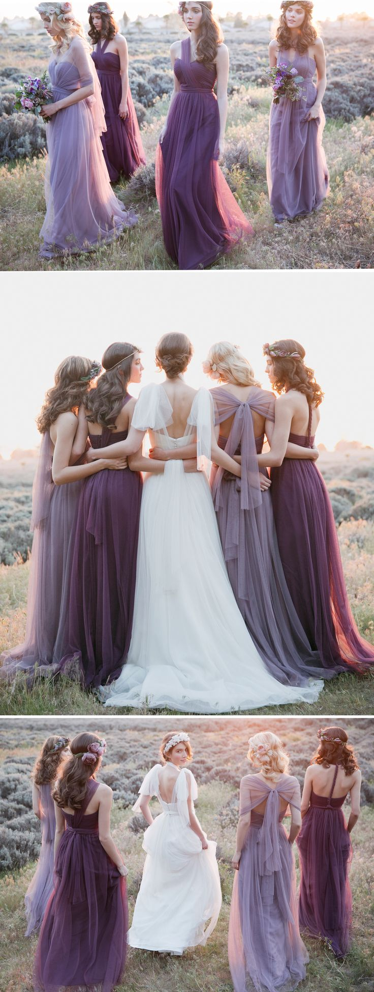 Convertible NABI Collection by Jenny Yoo //  Annabelle Dress in Lilac and Raisin Tulle // Hathaway Convertible Bridal Gown