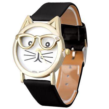 Relojes Gato Bonito Óculos Assista Analógico Quartz Relógio De Pulso Das Mulheres De Couro De Leopardo das Mulheres Dos Homens Relógios Desportivos Relogio Atacado