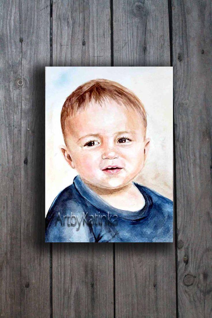 Custom Child portrait, Family portrait,Original Watercolor,Portrait Painting, Handmade painting,Birhday gift,Portrait Art, Paintig Gift by ARTbyKatinka on Etsy