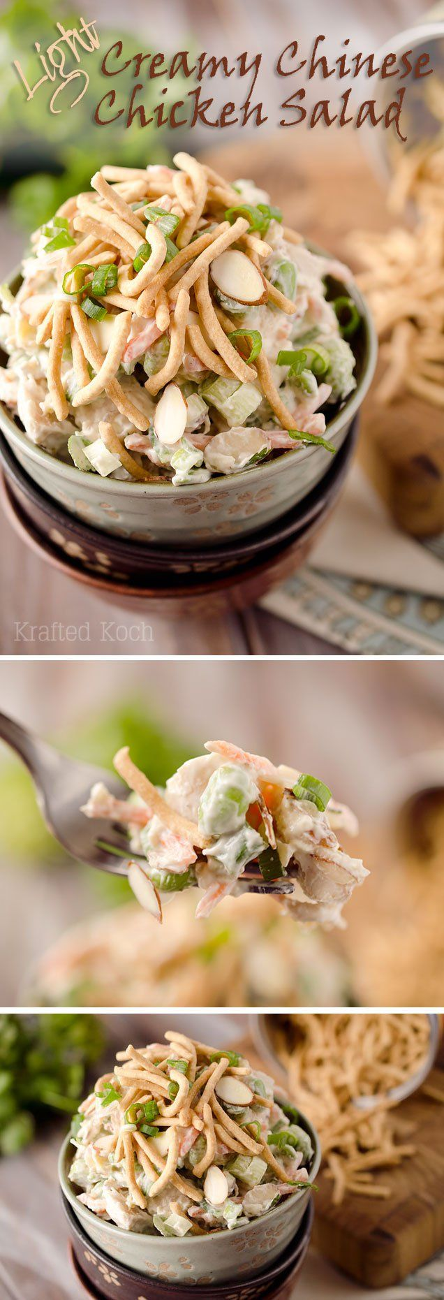 Light Creamy Chinese Chicken Salad - A quick and simple lunch recipe made with Greek yogurt for a healthy meal you will love!
