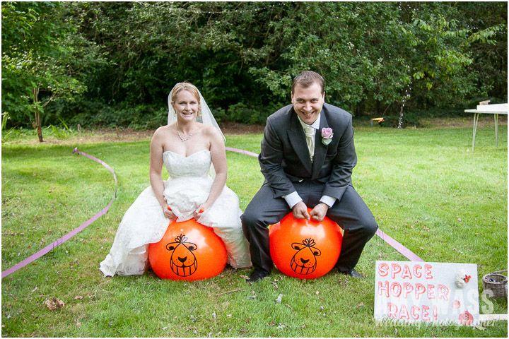 A space hopper race for a garden wedding, love this idea!