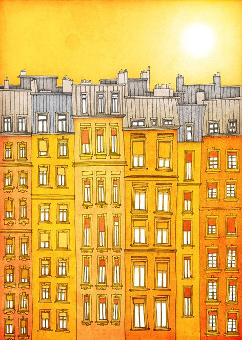 Yellow facade – Paris illustration Art Print Poster Home decor Wall decor Gift ideas for her Modern Living room decor Paris houses Cityscape