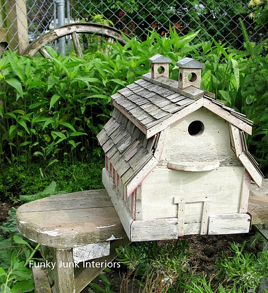 Rustic White Barn Birdhouse Bird Gardens Pinterest