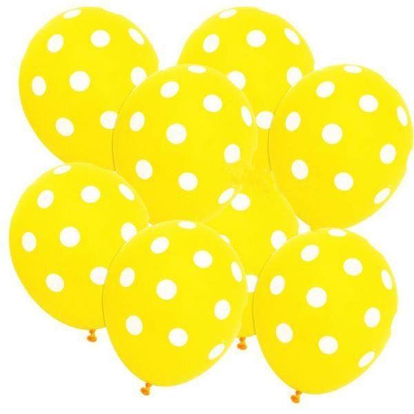 Sarı Beyaz Puanlı Baskılı Latex Balon 100 Adet