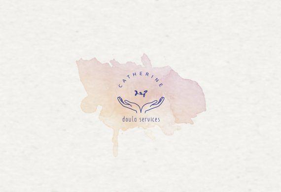 Vorgefertigtes Aquarell Logo Geburtsservice Geburts Coach