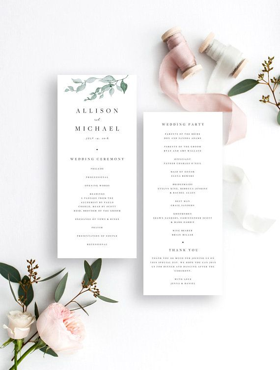 Wedding Ceremony Program Template Leaf Wedding Program