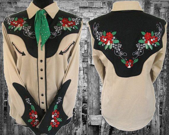 De Judy Vintage Western camisa de la mujer, bordado de flores preciosa con diamantes de imitación, medio