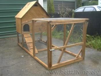 This chicken coop has an attached run.
