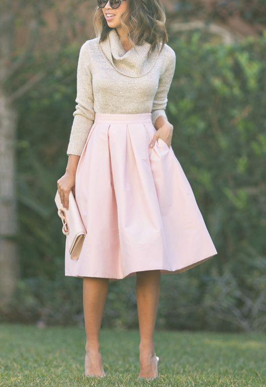Modest- longer skirts, not tight fitting, long sleeve turtle neck