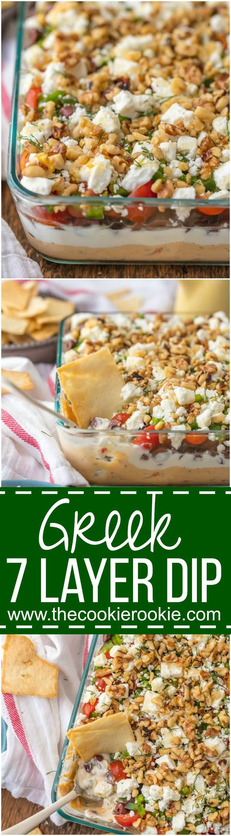 GREEK 7 LAYER DIP is a fun twist on a classic appetizer. This delicious dip is the perfect sharable app for Christmas, NYE, or any reason for tailgating. Layers of hummus, greek yogurt, feta, and so m