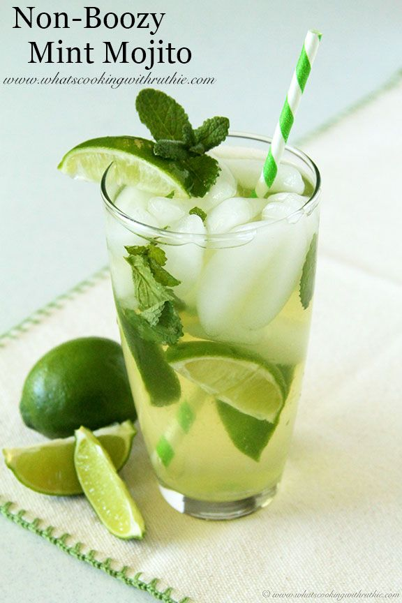 Non-Boozy Mint Mojito is simply a must this summer!  by www.whatscookingwithruthie.com #recipes #summer