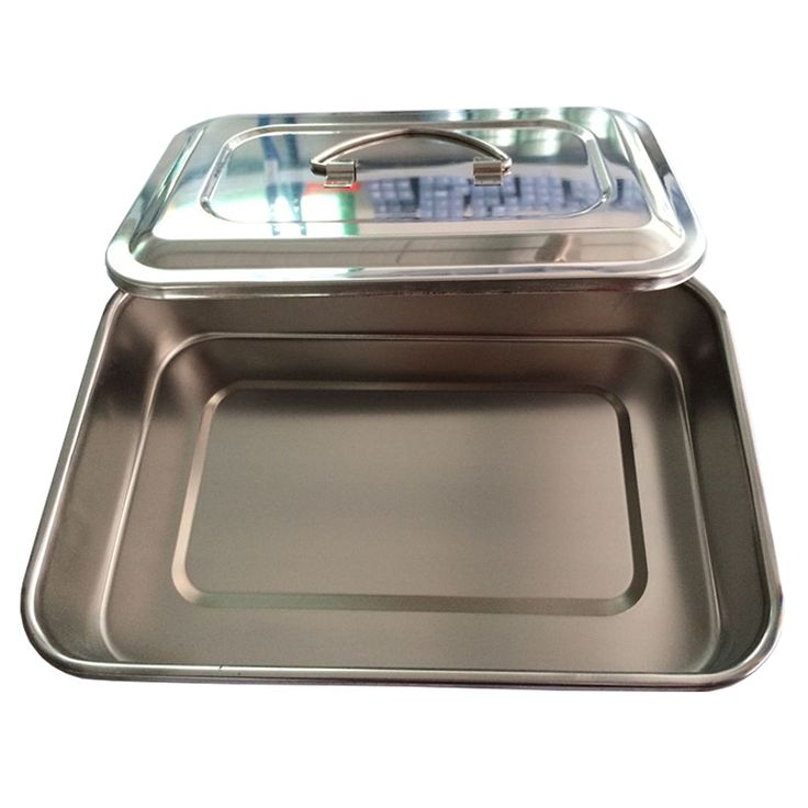 1 Piece Dental Stainless Steel dental instruments Storage box Lab Instrument dental tray with cover Large Size