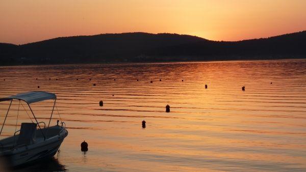 Warm sunset colours at Vourvourou beach