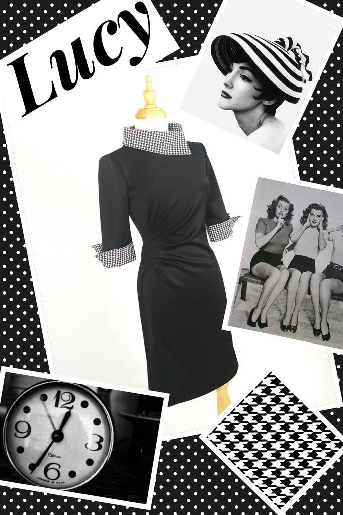 """Lucy"" Pencil dress in black and houndstooth"
