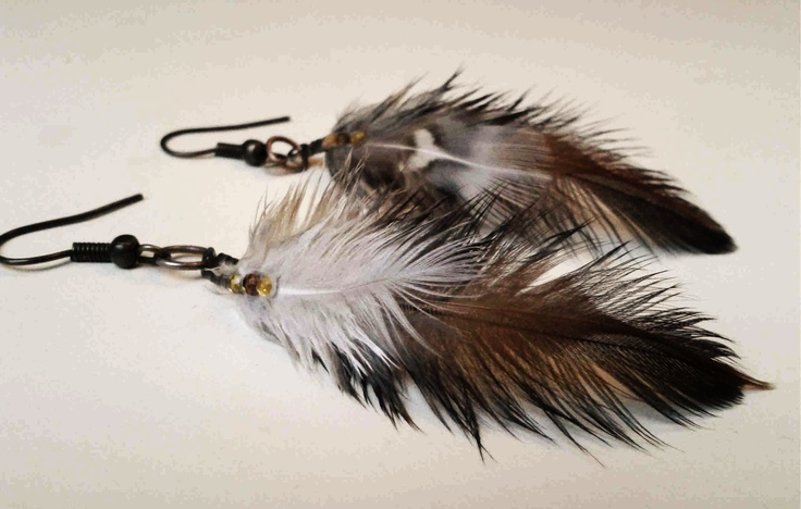 Feather earrings - These are first I made, I wore them, so it's up to them a little visible...
