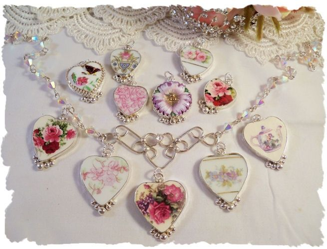 how to make broken china jewelry | Broken china jewlry from Make Mine Pink | crafts | Pinterest