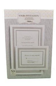 "50ct Wilton Wedding White Invitation Kit Platinum Borders 1010-149 by Wilton. Save 22 Off!. $16.28. Includes 50 invitations, 50 envelopes, 50 reply cards, 50 reply card envelopes, 6 test sheetsInvitations measure 5.5"" x 8.5"", iinvitation envelopes measure 5.75"" x 8.75"", reply cards measure 5.5"" x 4.25"", reply card envelopes measure 5.75"" x 4.37""Follow suggestions at Wilton website & print at home"