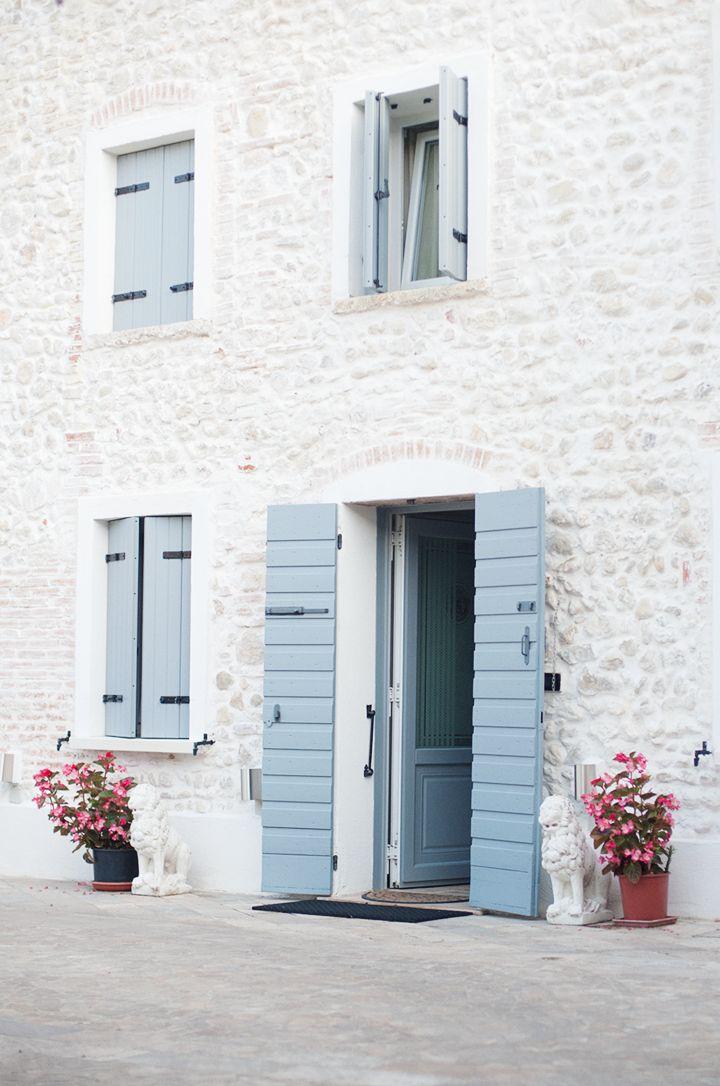 decor, exterior, house, home, white, blue, flower,
