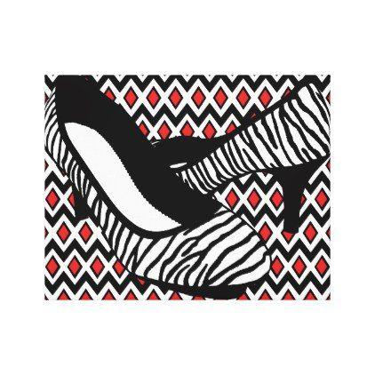 zebra stripes high heel shoe harlequin pattern art canvas print - modern style idea design custom idea