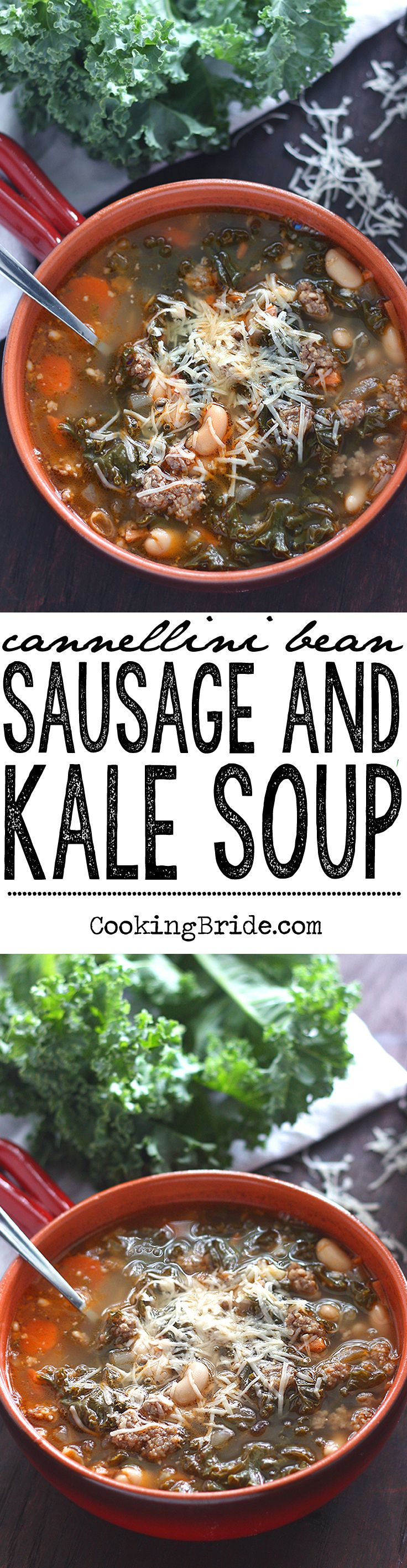 Italian sausage is simmered in a tomato broth with tender cannellini beans, vegetalbes, and fresh kale for Cannellini Bean, Sausage and Kale Soup.