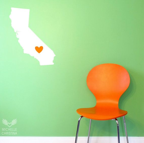 California Wall Decal California Love Wall by michellechristina, $16.00 One for my daughter's home state (move the heart up North)