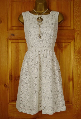 New Exchainstore Ivory Cream Vintage 50s Style Lace Summer Dress UK Size 10 18 | eBay