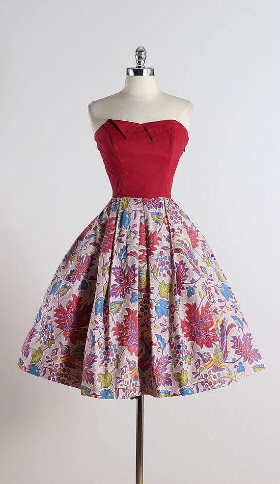 Joy Kingston ➳ vintage 1950s dress & bolero * tropical floral & bird print cotton * cotton lining * bodice stays * matching bolero with quilted details *
