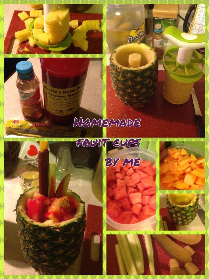 Pineapple fruit cups. Use all kinds of fruit you like. Garnish with a sour pickle spear & cucumber, then pour over chamoy sauce and sprinkle Tajin spice over .