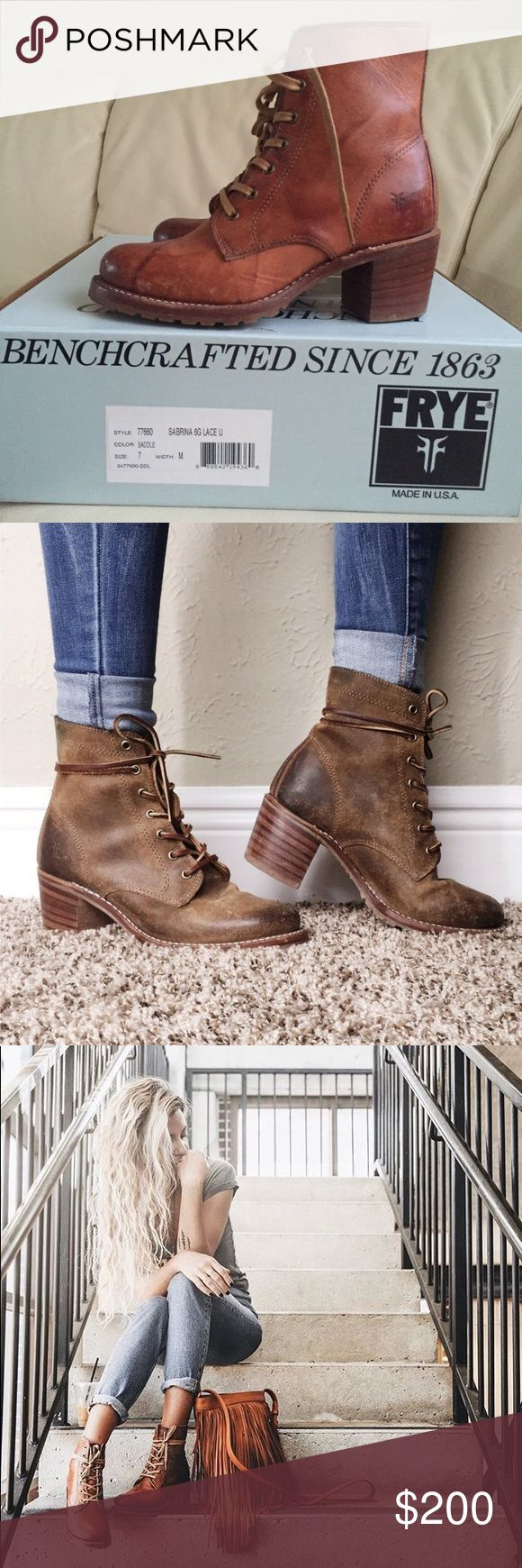 Frye Sabrina 6g lace up saddle heeled combat boot ENTIRE SHOP BOGO 50% OFF OR BUY 2 GET 1 FREE🌈  These are SOLD OUT online! So comfy.Worn a few times. A cobbler put in a heel protector so the heel doesn't wear down!A couple scuffs as shown in pics. Super sad to sell but they're too big for me. As you can see in Frye's photos, the leather is meant to look vintage. What sets the Sabrina apart from other work boots is hand burnishing and leather. The result is a patina that glows and gets even…